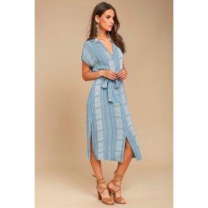Lulus I'm the One Blue & White Striped Shirt Dress